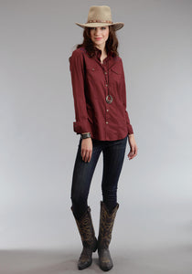 Stetson Ladies Collection- Fall I Stetson Womens Long Sleeve Shirt 0770 Dk Red Solid Cotton Long Shirt
