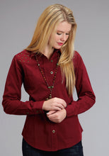 Stetson Ladies Collection- Fall I Stetson Womens Long Sleeve Shirt Red Twill Blouse Wstudded Embellishmn