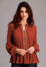 Stetson Ladies Collection- Fall I Stetson Womens Long Sleeve 2084 Rayon Crepe Peasant Blouse