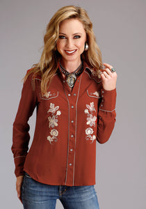 Stetson Ladies Collection- Fall I Stetson Womens Long Sleeve 2084 Rayon Crepe Western Blouse