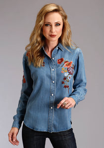 Stetson Ladies Collection- Fall Iii Stetson Womens Long Sleeve Tencel Denim Shirt Wembroidery