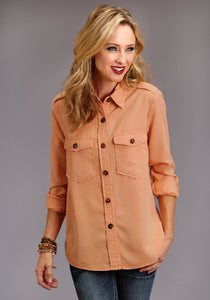 Stetson Ladies Collection- Fall I Stetson Womens Long Sleeve Apricottenceltwill Jacket Style Blouse