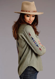 Stetson Ladies Collection- Fall Ii Stetson Womens Long Sleeve Olive Tencel Snap Front Emb Blouse
