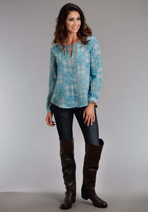 Stetson Ladies Collection- Spring Ii Stetson Womens Long Sleeve Shirt 0885 Vintage Quilt Prt Chiffon