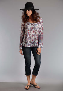 Stetson Ladies Collection- Spring Iii Stetson Womens Long Sleeve Shirt 0937 Praire Paisley Border Prt Chiffon