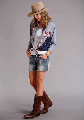 Stetson Ladies Collection- Summer I Stetson Womens Long Sleeve 3807 Chambray Body Boyfriend Fit Shirt