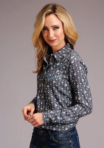 Stetson Ladies Collection- Spring Ii Stetson Womens Long Sleeve 00112 Rayon Twill Print Ls Blouse