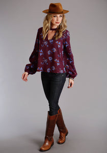 Stetson Ladies Collection- Fall Iii Stetson Womens Long Sleeve 2105 Floral Herringbone Twill Blouse