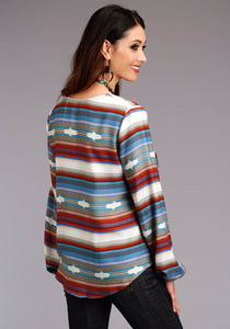 Stetson Ladies Collection- Fall Ii Stetson Womens Long Sleeve 0525 Serape Print Lt Wt Rayon Twill