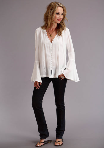 Stetson Ladies Collection- Summer I Stetson Womens Long Sleeve 3666 White Herringbone Twill Blouse