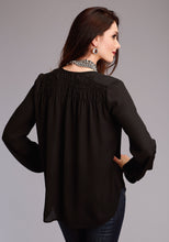 Stetson Ladies Collection- Winter I Stetson Womens Long Sleeve Shirt 1494 Black Poly Crepe Shirred Blouse