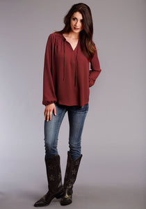 Stetson Ladies Collection- Winter I Stetson Womens Long Sleeve Shirt 1496 Wine Poly Crepe Ls Shirred Blouse