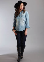 Stetson Ladies Collection- Spring Iii Stetson Ladies Long Sleeve Shirt 0331 Lt. Blue Denim Western Shirt