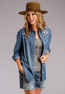 Stetson Ladies Collection- Spring Iii Stetson Womens Long Sleeve 1 Patch Pocket Denim Shirt Wembroider