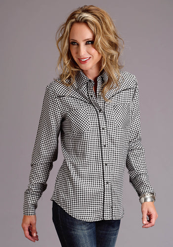 Stetson Ladies Collection- Summer Ii Stetson Womens Long Sleeve 3879 Blwh Gingham Ck Western Shirt