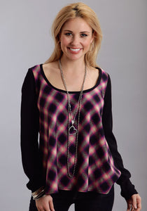 Stetson Ladies Collection- Fall Iii Stetson Ladies Long Sleeve Shirt 9959 Black Magenta Plaid Ls Blouse