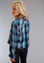 Stetson Ladies Collection- Fall I Stetson Womens Long Sleeve Shirt 1308 Indigo Blues Plaid