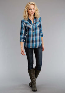 Stetson Ladies Collection- Fall I Stetson Womens Long Sleeve Shirt 1308 Western Ls Pld Boyfriend Fit