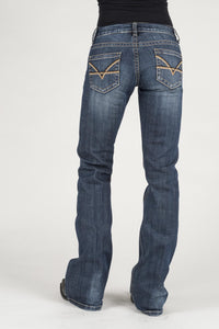 Stetson Ladies Jeans Stetson Womens Jeans Contrast Thick Yarn Emb Deco Back Pkt