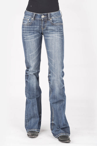 Stetson Ladies Jean- 816 Classic Boot Cut Stetson Womens Jeans Heavy Navy Arrow Design Back Pkt