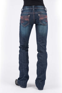 Stetson Ladies Jean- 818 Contemporary Styling Stetson Womens Jeans Arrow Emb Bk Pkt Red Cntrst Detail Ows