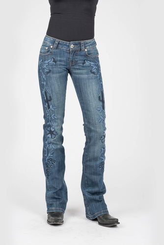 Stetson Ladies Jean - 818 Fit Stetson Womens Jeans Plain Back Pkt Wfloral Emb Down Frnt