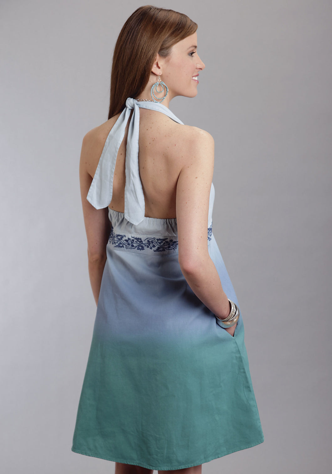 Stetson Ladies Collection- Spring Ii Stetson Ladies Sleeveless Dress 8977 Dip Dye Denim Halter Dress
