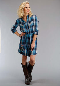 Stetson Ladies Collection- Fall I Stetson Womens Long Sleeve Dress 1308 Indigo Blues Plaid Shirt Dress