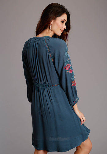 Stetson Ladies Collection- Fall I Stetson Womens Long Sleeve Dress .078 Blue Crinkle Crepe Loose Dress
