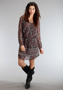 Stetson Ladies Collection- Winter I Stetson Womens Long Sleeve Dress 0704 Gypsy Border Chiffon Dress