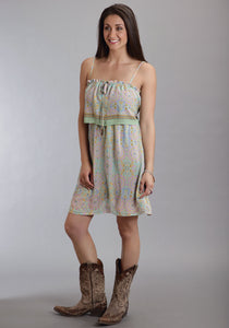 Stetson Ladies Collection- Spring Ii Stetson Ladies Sleeveless Dress 8972 Mosaic Mirror Border Print Dress