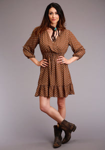 Stetson Ladies Collection- Spring I Stetson Womens Long Sleeve Dress 00114 Prt Rayon Herringbone Twill