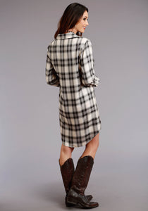 "Stetson Ladies Collection- Fall Iii Stetson Womens Long Sleeve Dress 0586 ""ash"" Plaid Herringbone Twill"