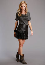 Stetson Ladies Collection- Fall Ii Stetson Womens Skirt Smooth Black Lamb Leather Fringe Skirt