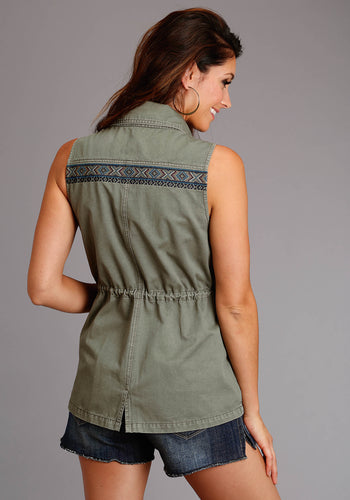 Stetson Ladies Collection- Summer I Stetson Womens Vest Olive Twill Cargo Style Vest