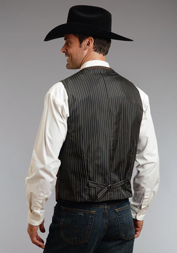 Stetson Men's Collection- Outerwear Stetson Mens Vest 0765 Brnblk Wool Blend Herringbone