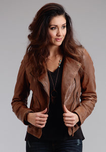 Stetson Ladies Collection-outerwear Outer Womens Jacket Moto Style Zip Front Leather Jacket