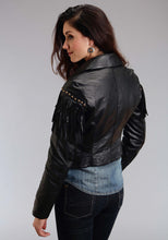 Stetson Ladies Collection-outerwear Stetson Womens Jacket Black Fringed Leather Jacket
