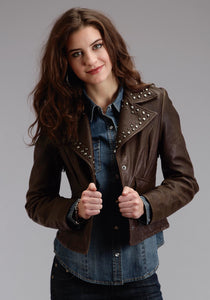 Stetson Ladies Collection-outerwear Stetson Womens Jacket Brown Crinkled Leather Jacket Wnailhe