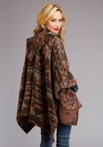 Stetson Ladies Collection- Fall I Stetson Womens Jacket 1809 Brownrust Wool Blend Wrap Whood