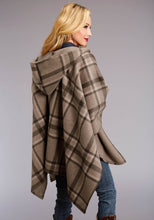 Stetson Ladies Collection- Fall Iii Stetson Womens Jacket 2071 Taupe Plaid Wool Blend Wrap