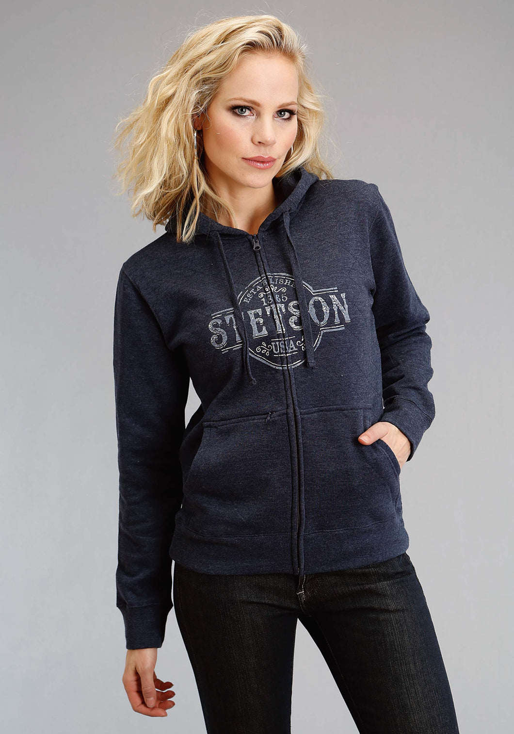 Stetson Ladies Collection- Sweatshirt Stetson Womens Sweatshirt Steson Seal Applipque Embroidery