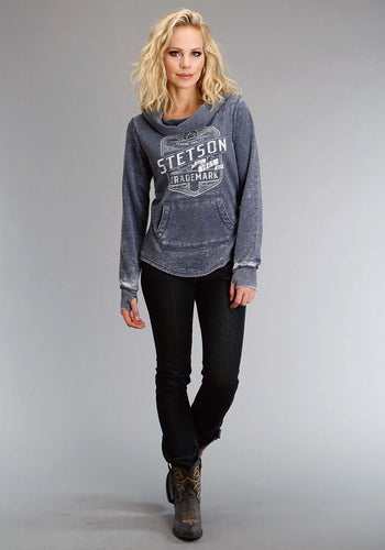Stetson Ladies Collection- Sweatshirt Stetson Womens Sweatshirt Stetson Seal In White Embroidery