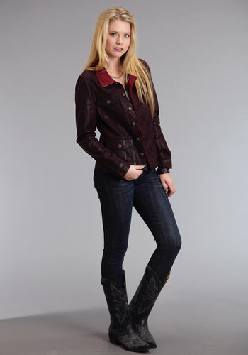 Stetson Ladies Collection- Fall I Stetson Womens Jacket Dk Red Coated Twill Denim Look Jacket