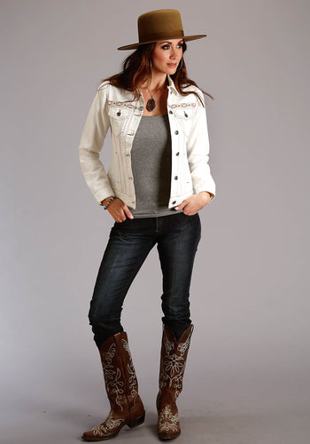 Stetson Ladies Collection- Fall I Stetson Womens Jacket Heavy Off White Twill Denim Look Jkt