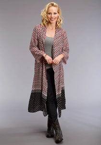 Stetson Ladies Collection- Spring Ii Stetson Womens Long Sleeve Shirt 1588 Sangria Border Prt Maxi Cardigan