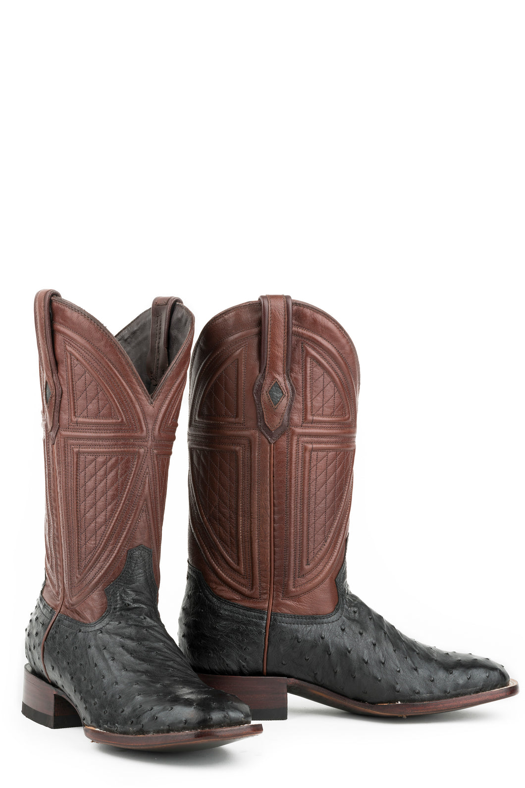 Dillon Boot Mens Boot Black Ostrich Vamp Brown 13