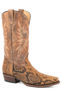Snake Eyes Boot Mens Boots Oily Tan Python Back Vamp