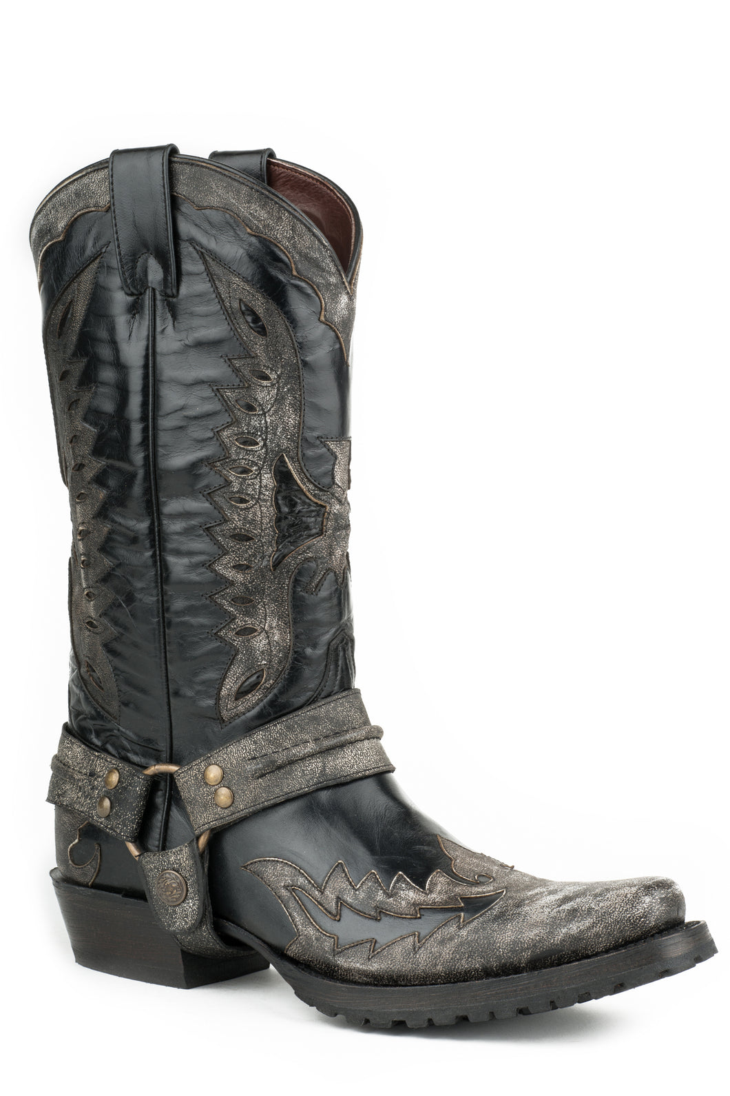 Outlaw Eagle Biker Boot Mens Boot Black Wdistressed Eagle Overlay