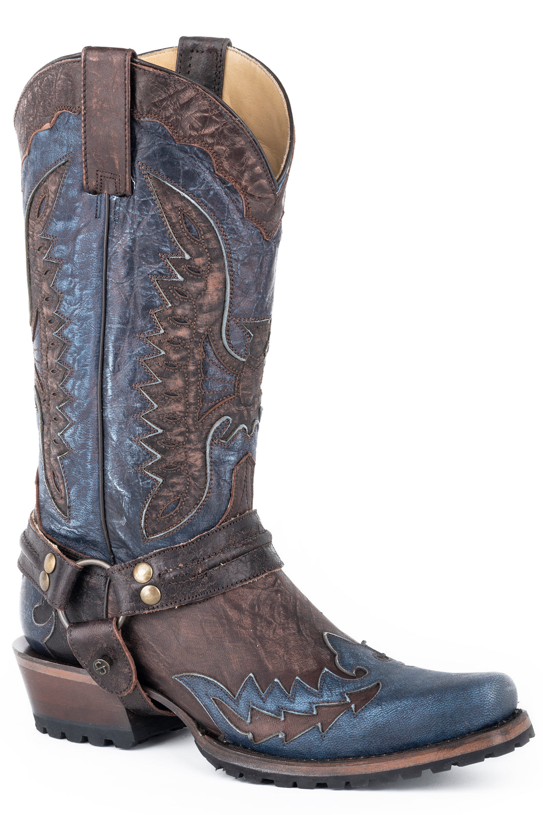 Outlaw Eagle Biker Boot Mens Boots Distressed Brown Vamp Wblue Wingtip